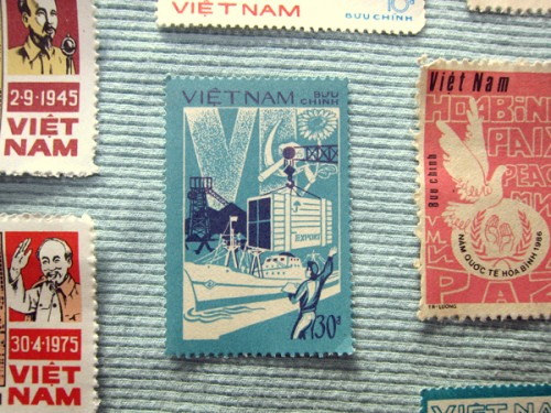 Close Up of Export Propaganda Stamp