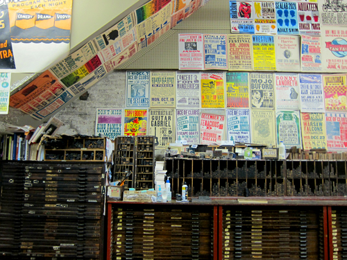 Wall of Posters & Blocks at Hatch Show Print