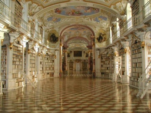 Photo of Library Hall at Admont Abbey in Austria, taken by Wikipedia user M. B.